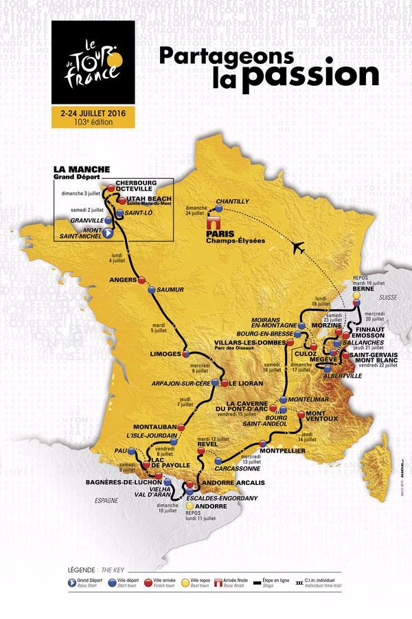 parcours officiel tour de france 2016