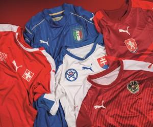 PUMA dévoile les nouveaux maillots de ses 5 équipes pour l'UEFA EURO 2016 (Italie, Suisse, Autriche, République Tchèque, Slovaquie)