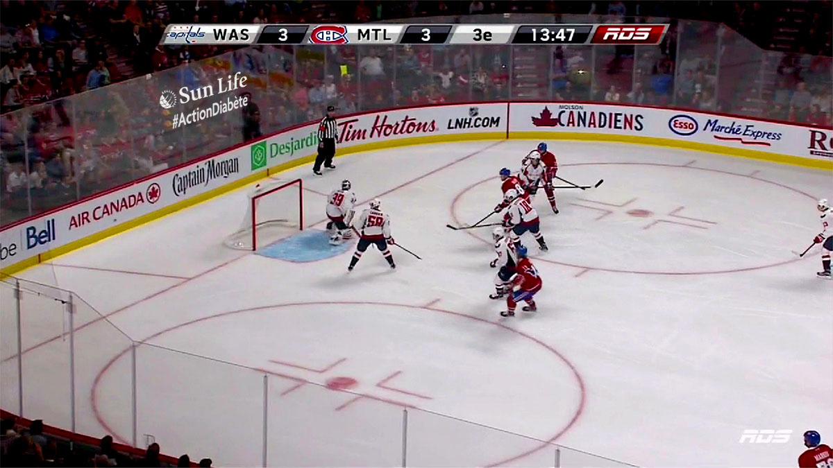Affichage publicitaire virtuel Canadiens de Montréal baie vitrée