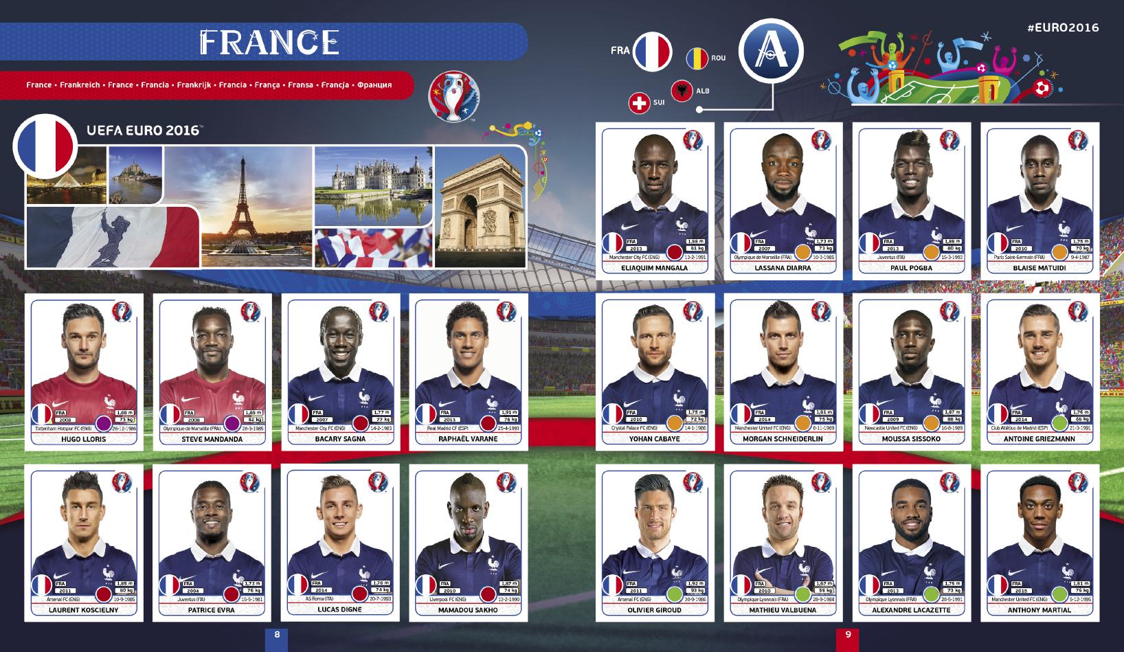 Karim Benzema album Panini UEFA EURO 2016 Equipe de France football