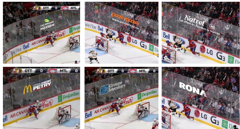publicité virtuelle baie vitrée canadiens de Montréal RDS NHL