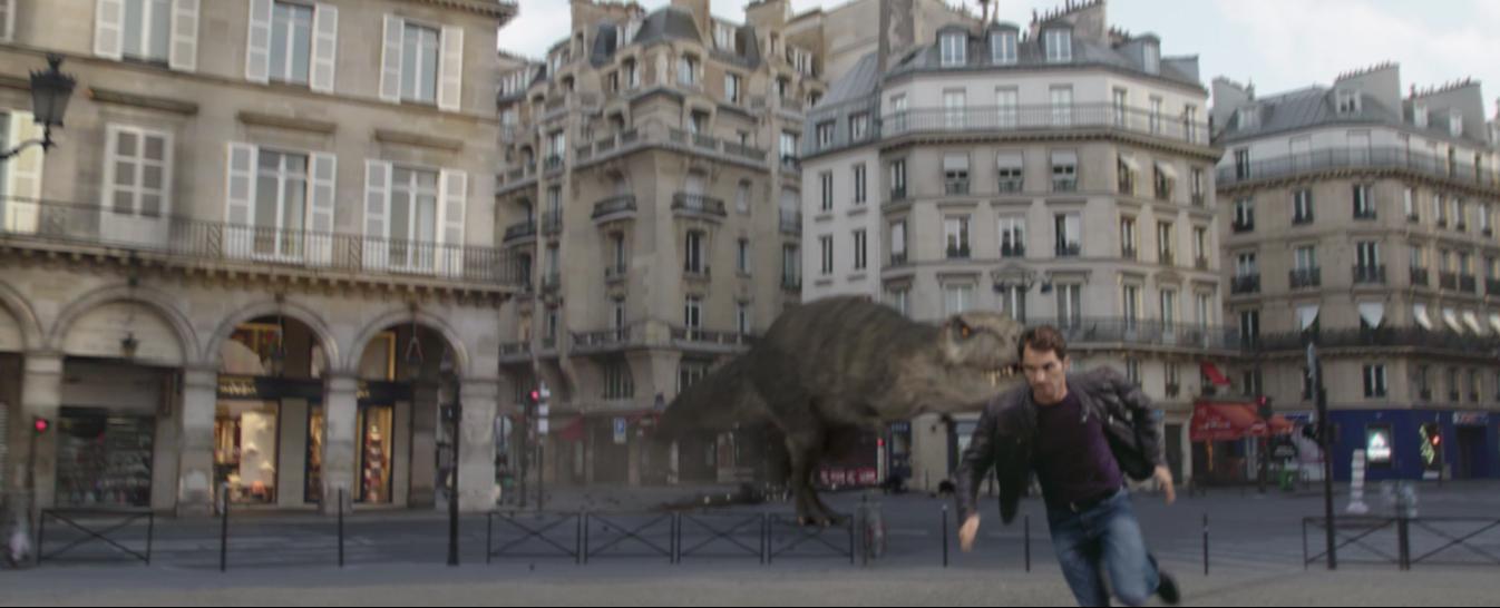 roger federer dinosaure Paris publicité sunrise suisse