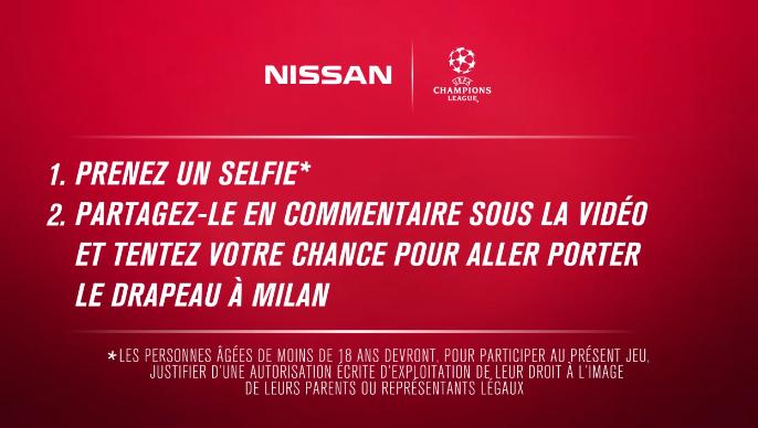 Nissan porte drapreau finale UEFA Champions League 2016 Milan san siro money can't buy