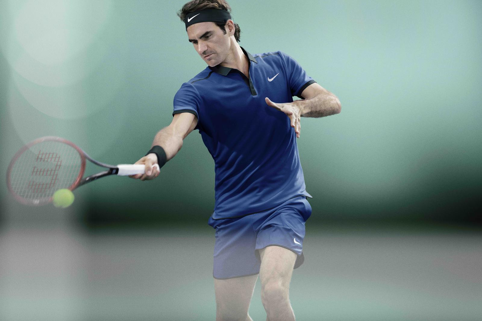 Roger Federer tenue nike roland-garros 2016 polo bleu tennis