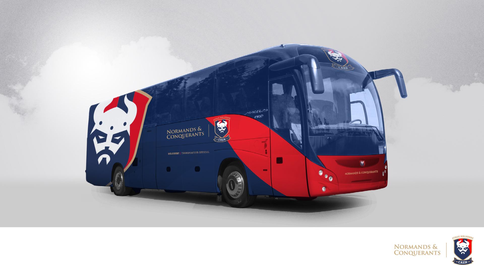 nouveau bus joueurs Stade malherbe caen transporteur Delcourt nouveau logo