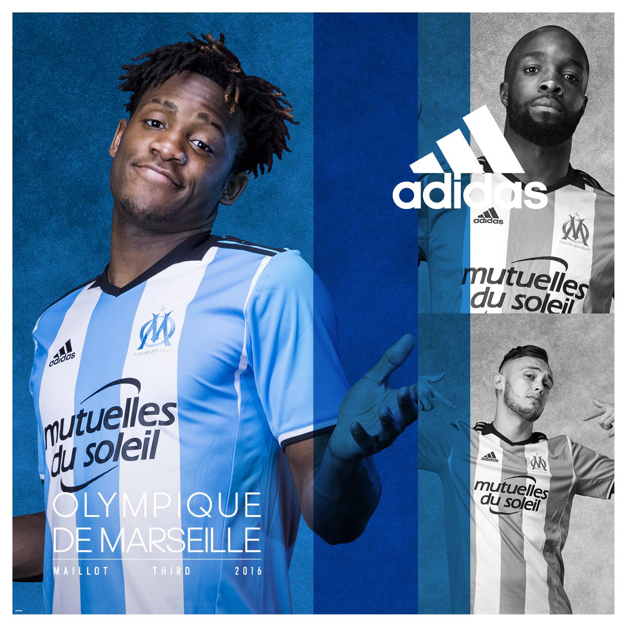 Adidas et l 39 olympique de marseille d voilent les nouveaux for Maillot exterieur om 2017