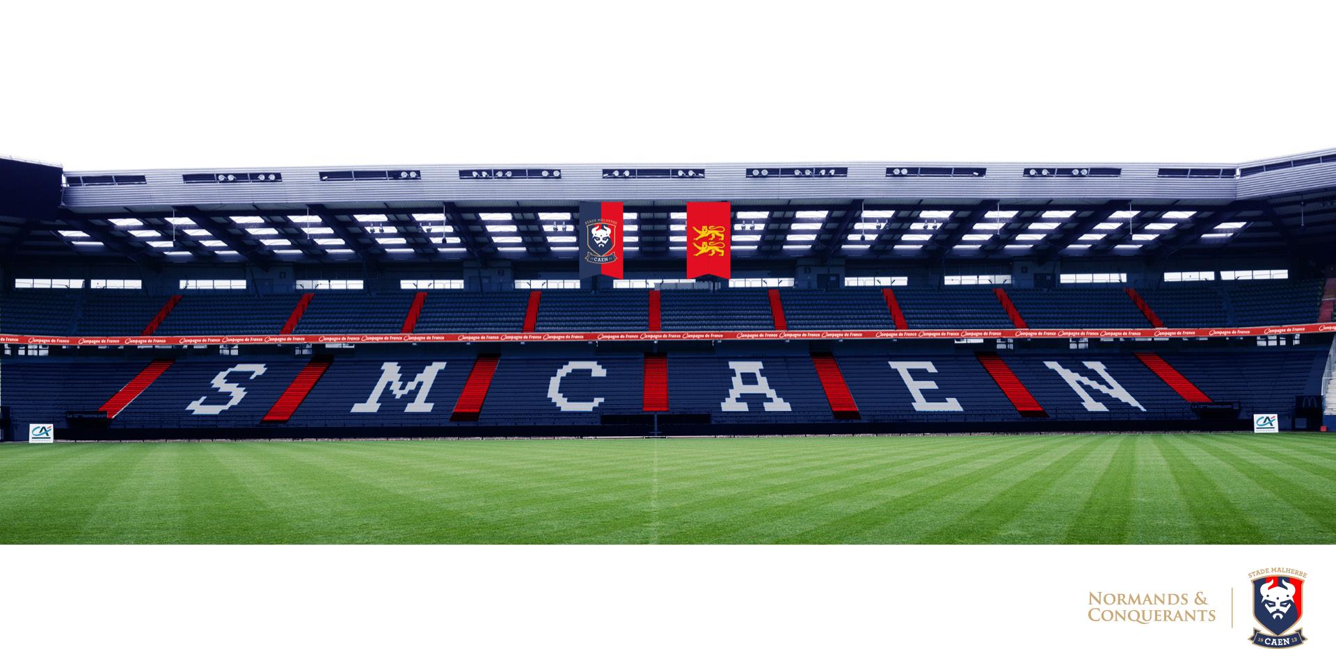 nouveaux sièges bleu rouge stade malherbe caen michel d'ornano 2016