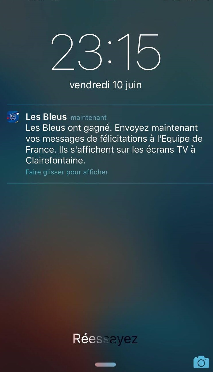 Facebook messenger Equipe de france bot Clairefontaine push appli