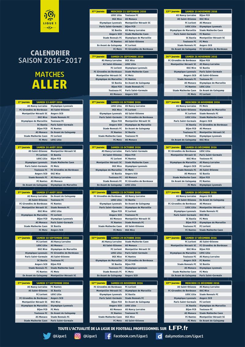 Ligue 1 voici le calendrier des matchs et le ballon officiel adidas de la saison 2016 2017 - Date des saisons 2016 ...