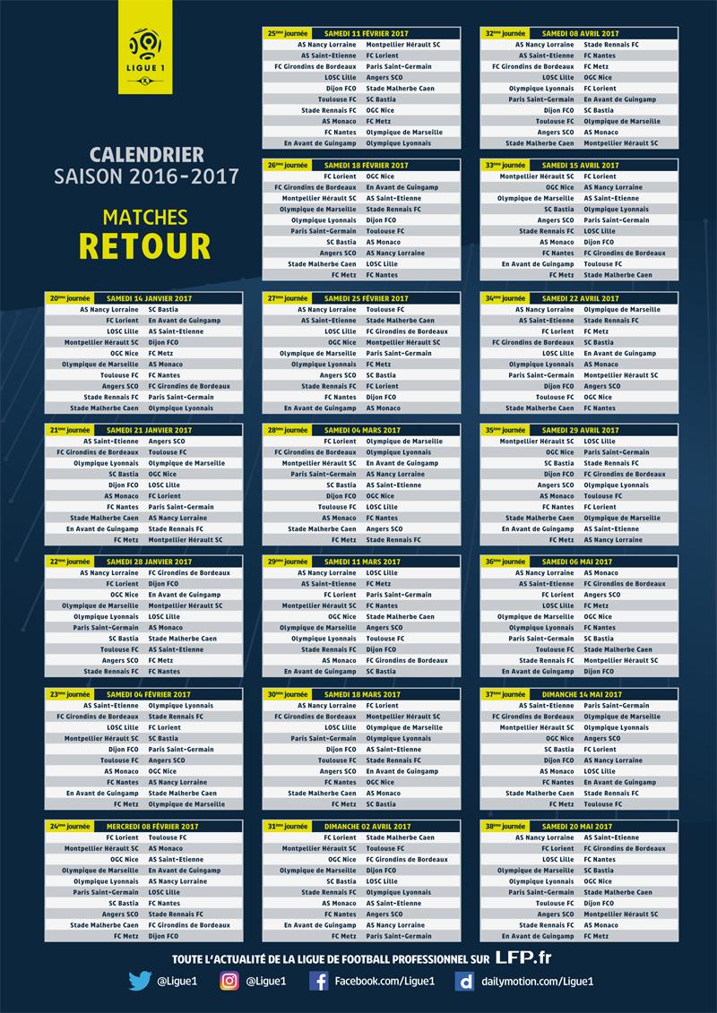 Ligue 1 voici le calendrier des matchs et le ballon officiel adidas de la saison 2016 2017 - Coupe de france football calendrier ...