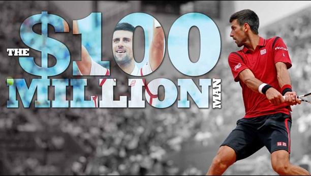 novak djokovic 100 millions dollars prize money record tennis business 2016