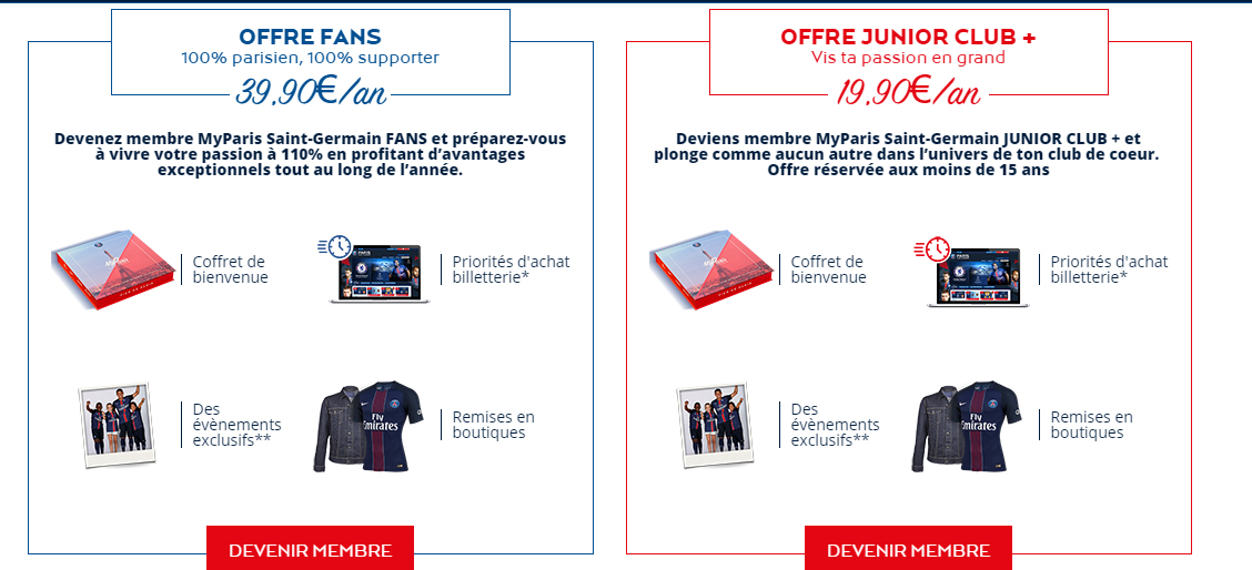 offres membership PSG myparis saint-germain