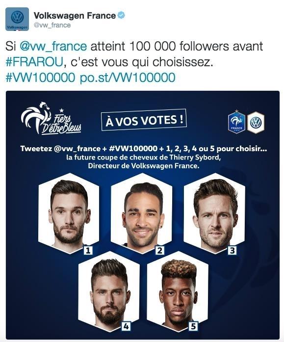 volkswagen directeur france coupe de cheveux équipe de france euro 2016 défi twitter thierry sybord