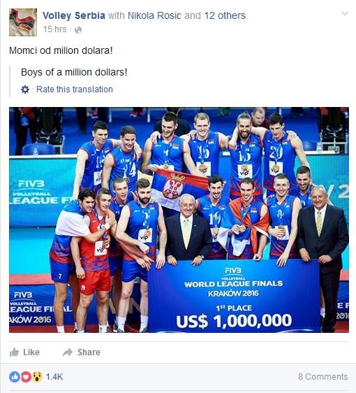 serbie ligue mondiale 2016 volley ball 1 million de dollars