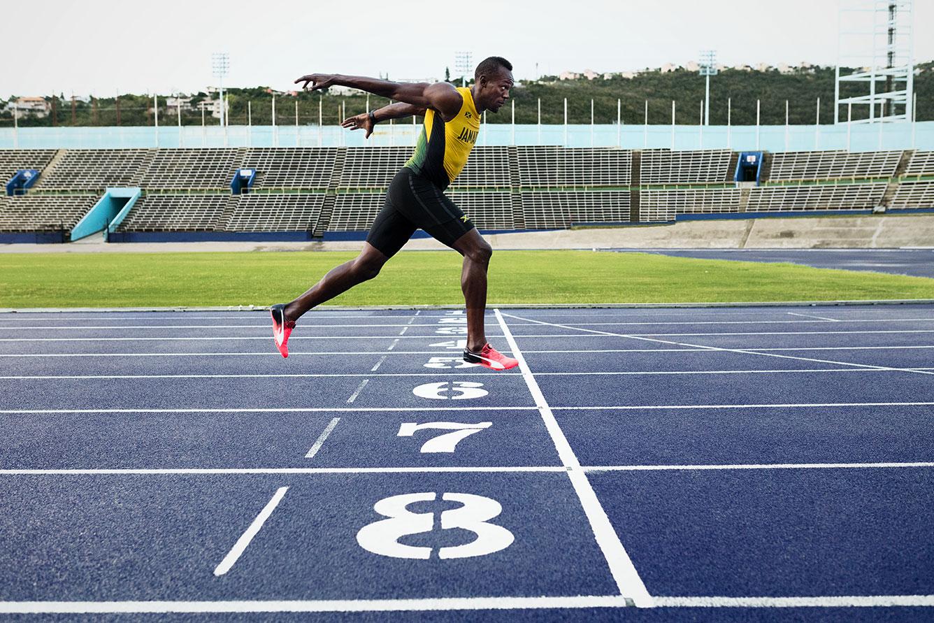 Usain bolt chaussures pointes athlétisme evospeed disc spike
