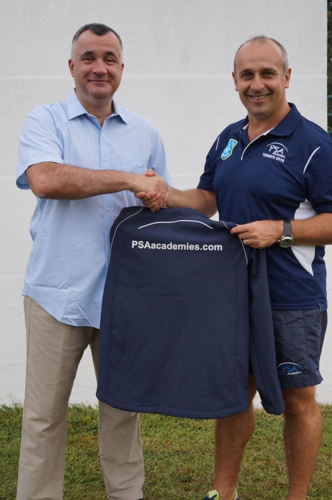 Philippe Bru (left), CEO of Soccer Academy HK Ltd. with Philippe Saint-Andre, Co-Founder & Director of PSA Academies (www.psaacademies.com) at the announcement of their new Hong Kong partnership, Toulon, Thursday 15 Sep 2016