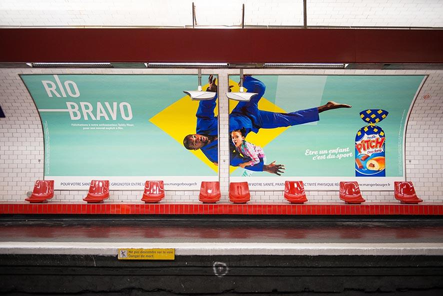 teddy riner brioche pasquier affiche métro rio 2016