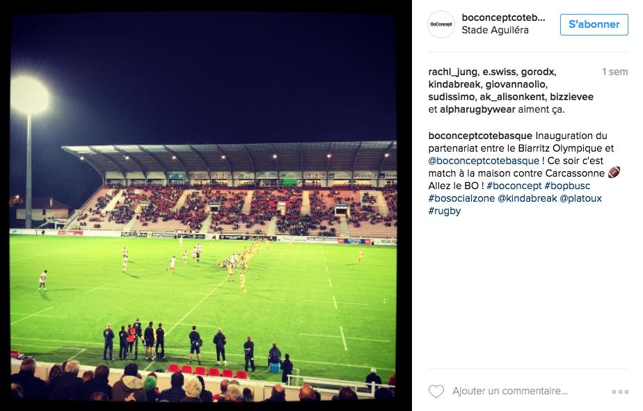 Publication d'un partenaire de la social zone du Biarritz Olympique