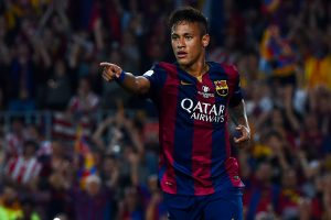 BARCELONA, SPAIN - MAY 30:  Neymar of FC Barcelona celebrates after scoring his team's second goal during the Copa del Rey Final match between FC Barcelona and Athletic Club at Camp Nou on May 30, 2015 in Barcelona, Spain.  (Photo by David Ramos/Getty Images)