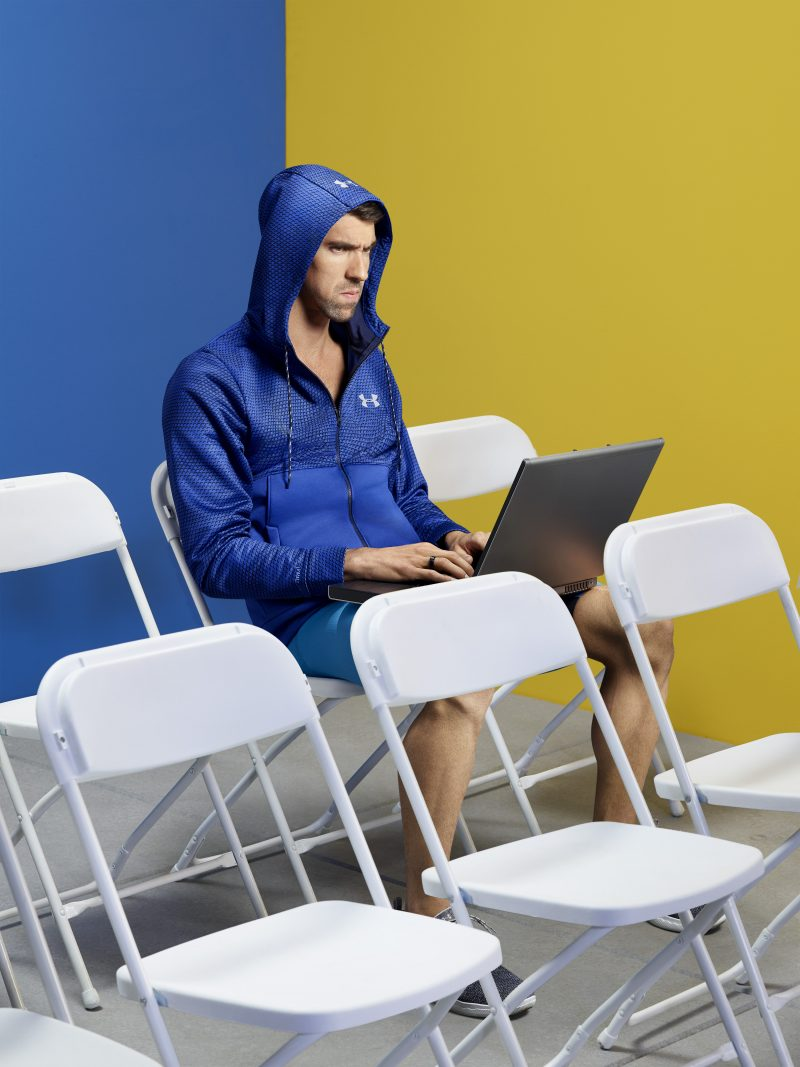 Michael Phelps is on set shooting the latest ads with Intel. The collaboration with Michael Phelps represents the latest evolution in Intel's integrated marketing campaign with Jim Parsons that showcases better experiences found on new Intel-powered PCs. (Credit: Intel Corporation)