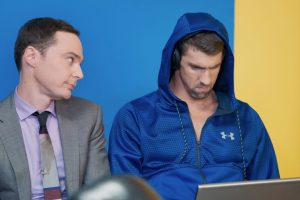 Michael Phelps and Jim Parsons are on set shooting the latest ads with Intel. The collaboration with Michael Phelps represents the latest evolution in Intel's integrated marketing campaign with Jim Parsons that showcases better experiences found on new Intel-powered PCs. (Credit: Intel Corporation)