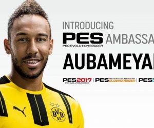 Pierre-Emerick Aubameyang nouvel ambassadeur du jeux vidéo PES 2017 (Konami)