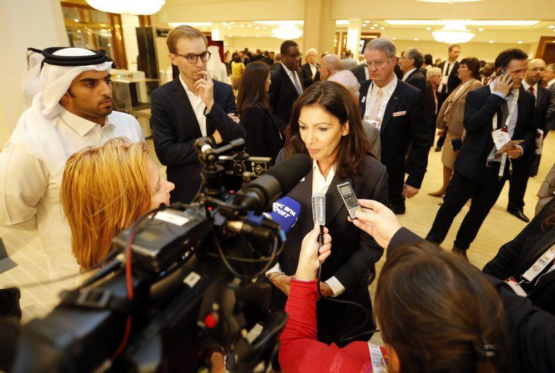 Paris 2024 - SŽquence mŽdias de la dŽlŽgation Paris2024, Doha - 15/11/2016 - Anne Hidalgo - Photo Mustafa Abumounes / Paris 2024