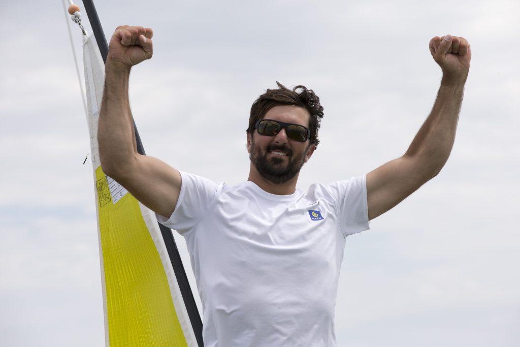 Yoann Richomme (Skipper Macif 2014) 1er au general de la Solitaire Bompard Le Figaro entre La Rochelle et La Rochelle - le 07/07/2016