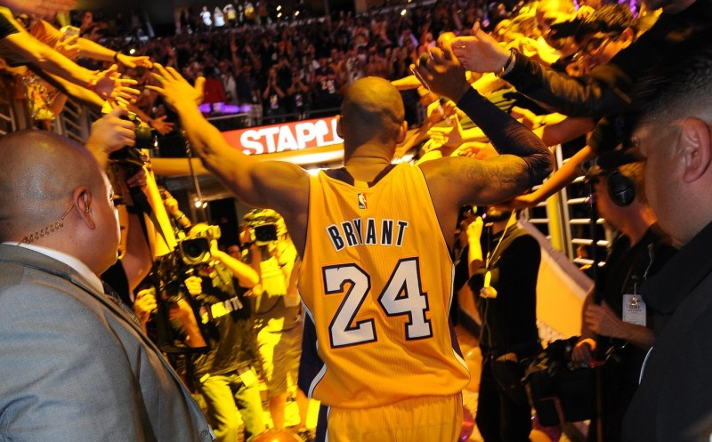 LOS ANGELES, CA - APRIL 13: Kobe Bryant #24 of the Los Angeles Lakers walks off the court after the game against the Utah Jazz on April 13, 2016 at Staples Center in Los Angeles, California. NOTE TO USER: User expressly acknowledges and agrees that, by downloading and/or using this Photograph, user is consenting to the terms and conditions of the Getty Images License Agreement. Mandatory Copyright Notice: Copyright 2016 NBAE (Photo by Andrew D. Bernstein/NBAE via Getty Images)
