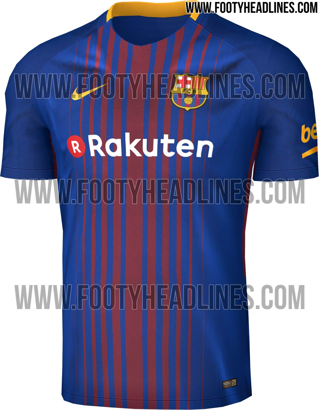 le nouveau maillot domicile 2017 2018 du fc barcelone floqu rakuten a fuit. Black Bedroom Furniture Sets. Home Design Ideas
