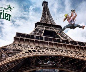 Smash Perrier : Un «vol plané» en tyrolienne depuis la Tour Eiffel à l'occasion de Roland-Garros
