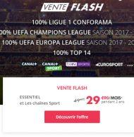 [Vente flash 18/20 août 2017] Canal + ESSENTIEL et les Chaînes Sport à 29,90€/mois pendant 2 ans au lieu de 49,90€/mois