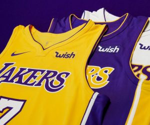 NBA – Wish sponsor maillot des Los Angeles Lakers
