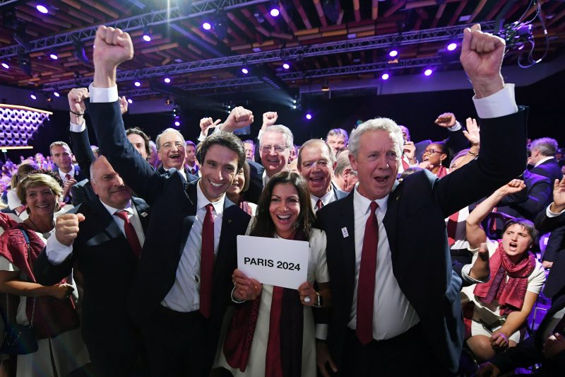 7ddbd4cb76 Tony Estanguet, Anne Hidalgo, guy Drut celebrate the victory during the  Olympic and Paralympic Games 2024 host city election, Lima, September 13,  2017, ...