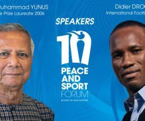 Muhammad Yunus et Didier Drogba au Forum International Peace and Sport 2017