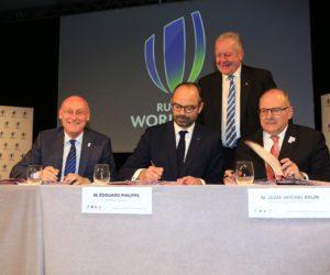 Edouard Philippe, Bernard Laporte et Jean-Michel Brun lancent la Coupe du Monde 2023