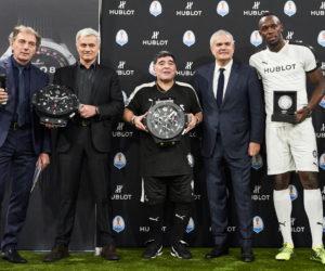 Bolt, Mourinho et Maradona présentent la nouvelle montre intelligente d'Hublot pour la Coupe du Monde 2018