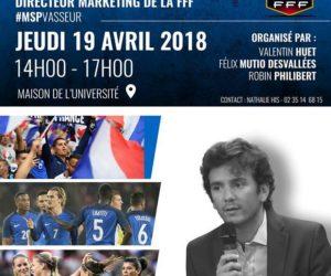 François Vasseur, Directeur Marketing de la FFF, en conférence à l'Université de Rouen jeudi 19 avril