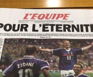 Le journal L'Equipe va réimprimer son numéro collector du 13 juillet 1998 célébrant la victoire des Bleus