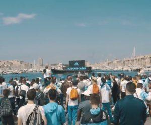 adidas déploie un bateau dans le Vieux-Port de Marseille avant la finale d'UEFA Europa League entre l'OM et l'Atlético de Madrid