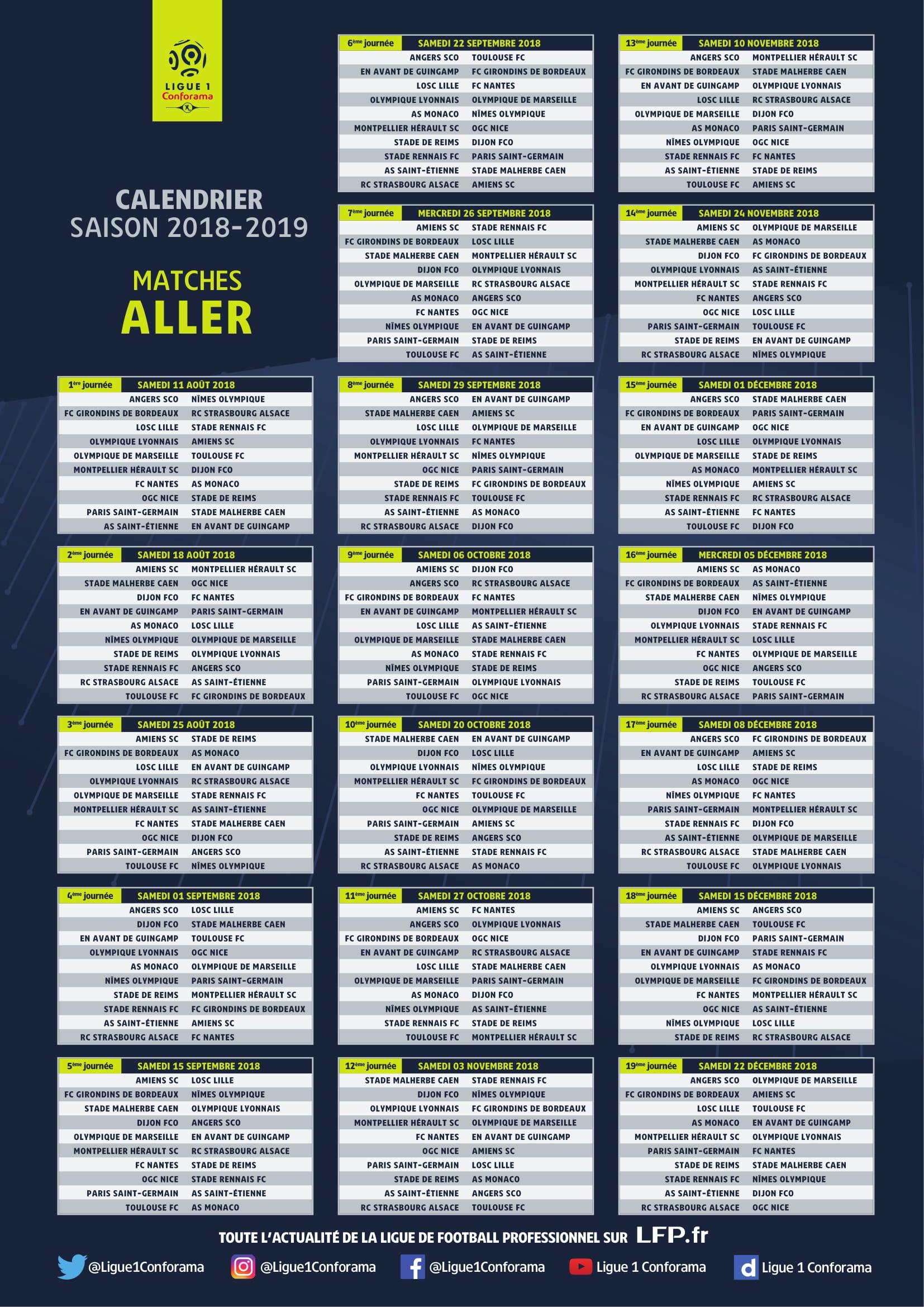 Calendrier L1 Psg.Le Calendrier 2018 2019 De La Ligue 1 Conforama Devoile