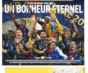 La Une du titre des Bleus en Coupe du Monde 2018 chamboule le Top 10 des meilleures ventes de L'Equipe