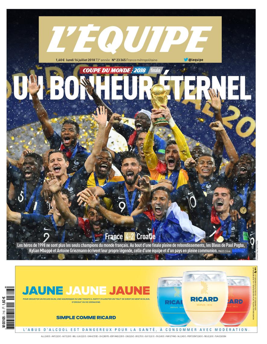 La une du titre des bleus en coupe du monde 2018 chamboule le top 10 des meilleures ventes de l - Coupe de france l equipe ...