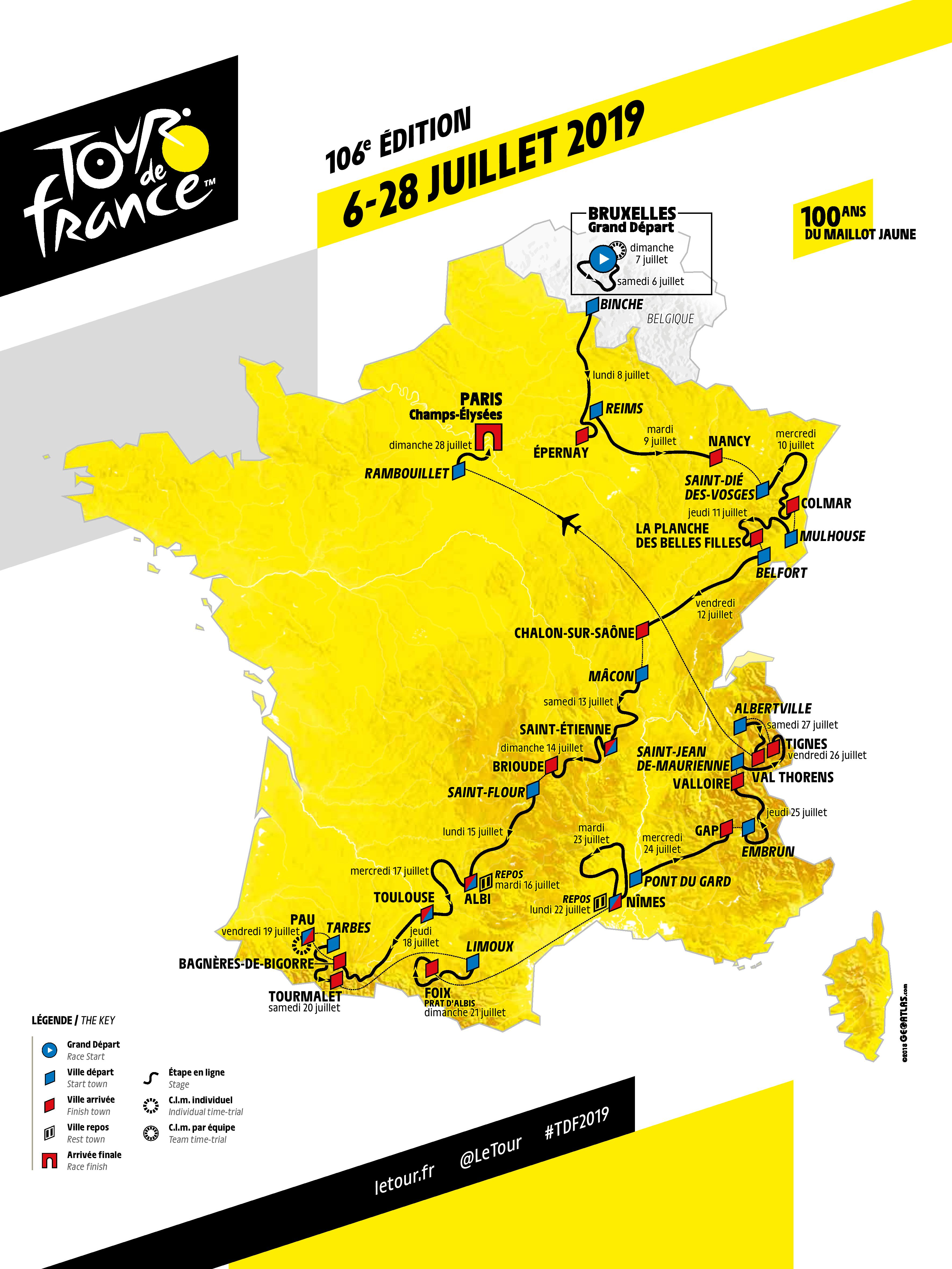 parcours prize money sponsors le tour de france 2019 se d voile. Black Bedroom Furniture Sets. Home Design Ideas