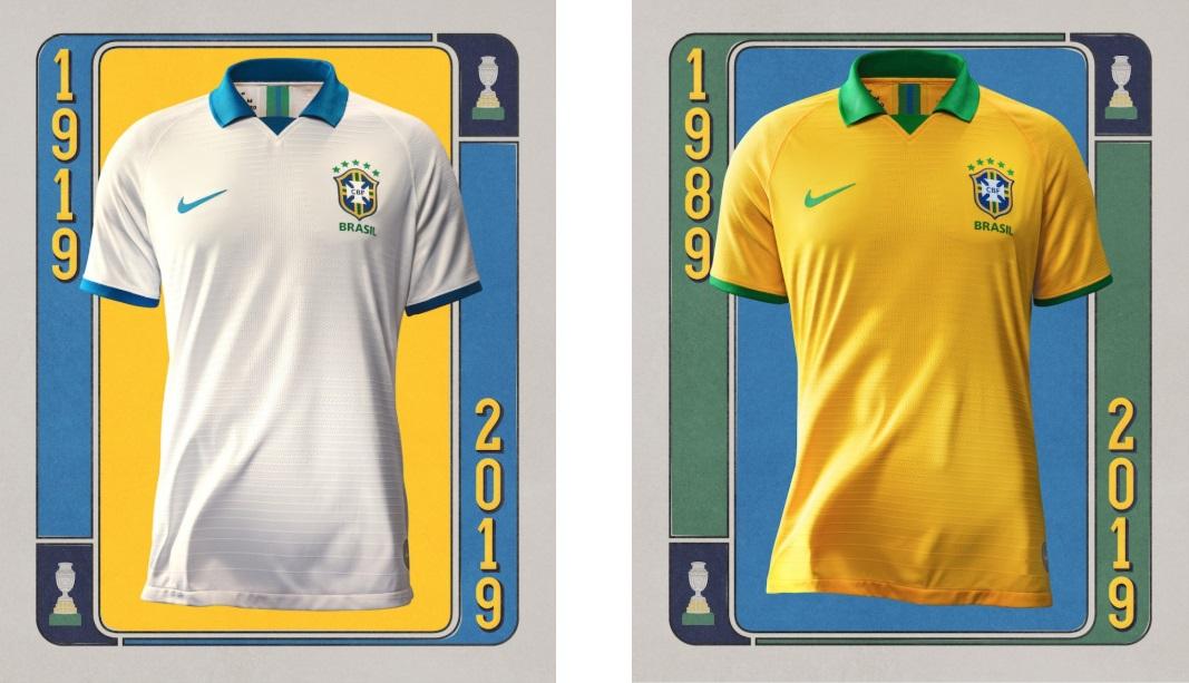 5cfdd6a085 A deux mois de la Copa America 2019 organisée au Brésil, Nike dévoile les  nouveaux maillots domicile et third de la Seleçao. Le maillot extérieur  bleu reste ...