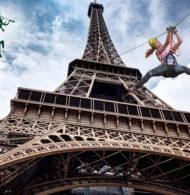 Perrier relance sa Tyrolienne au départ de la Tour Eiffel pour Roland-Garros 2019