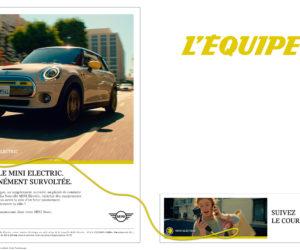 Le logo du journal L'Equipe va changer de couleur et devenir jaune pour les besoins d'une publicité MINI Electric