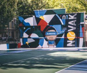 Lacoste rénove un terrain de tennis de manière artistique à Clichy