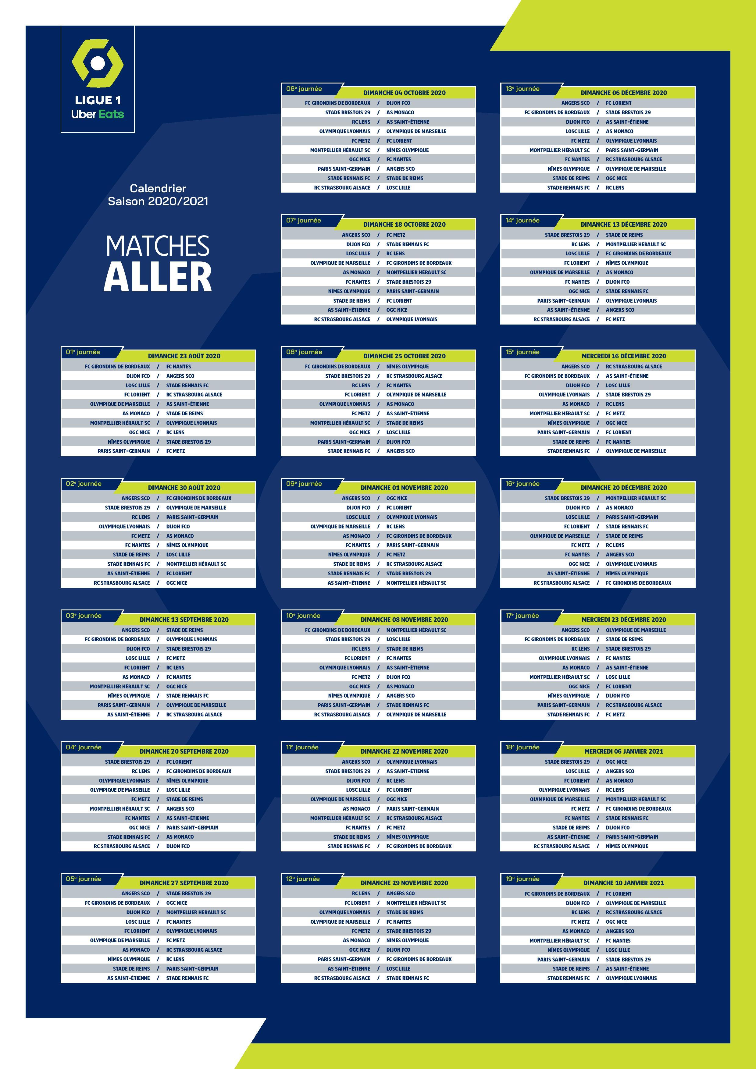 Le calendrier des matchs de Ligue 1 Uber Eats pour 2020 2021