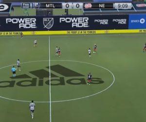 Le logo adidas incrustré dans le rond central (réalité augmentée) pour le tournoi « MLS is Back »